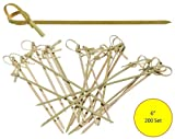 Prexware - Stecchini in bambù con estremità piegata, 15,24 cm, ideali per spiedini e cocktail, 200 pz