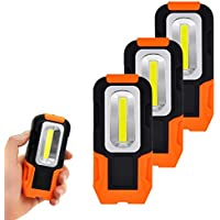 Linternas Lamparas de Trabajo COB LED 3W Bateria Portatil Muy Potente con Base Magnetica y Gancho para Trabajar, Camping, Emergencia Pack de 3 de Enuotek