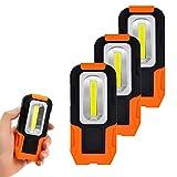 ENUOTEK Linternas Lamparas de Trabajo COB LED 3W Bateria Portatil Muy Potente con Base Magnetica y Gancho para Trabajar, Camping, Emergencia Pack de 3