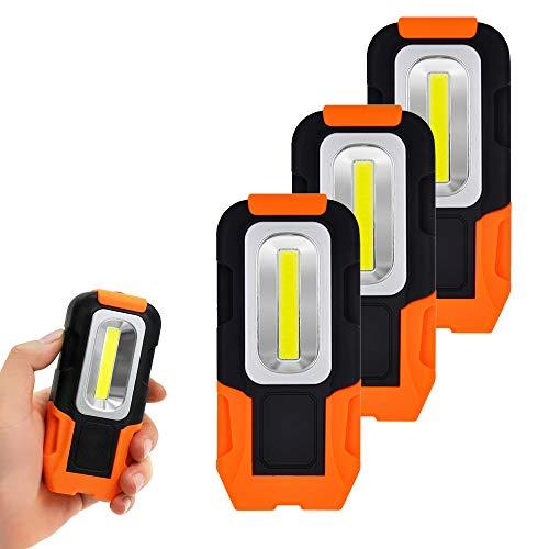 Batteriebetriebene Faltbar 3W COB LED Arbeitsleuchten Taschenlampen mit Magnetfuß und Haken für Arbeitslampe, Handlampe, Campinglampe, Nachtlicht 3er Pack von Enuotek
