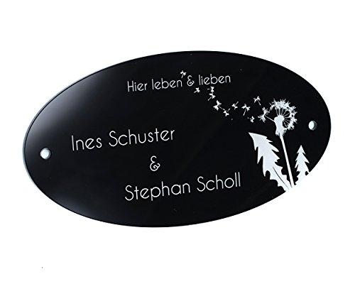Edles Türschild mit Gravur + 1 Motiv Gratis Hochglanz Acrylglas Schwarz oder Anthrazit 15x8cm oval | Namensschild Personalisierbar! Briefkastenschild mit Bohrlöcher / selbstklebend | Wunschtext