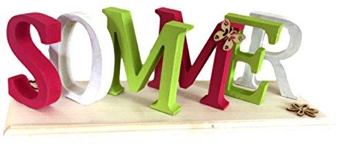 riftzug Sommer aus Holz pink weiß grün 30 cm lang Handarbeit Dekoration Dekoaufsteller Holzschriftzug Dekobuchstaben Aufsteller Deko ()