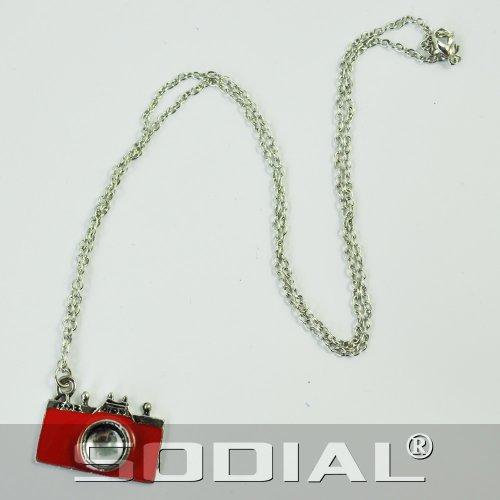 SODIAL(R) Collier antique en bronze pour femme Design appareil-photo Rouge