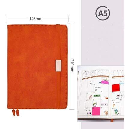 ShAwng Soft Multi-Funktion Geschäftsstelle Notebook Persönliches Journal Tagebuch Organizer Effizienz 365-Tage-Wochenplaner Agenda A5, Orange, A5