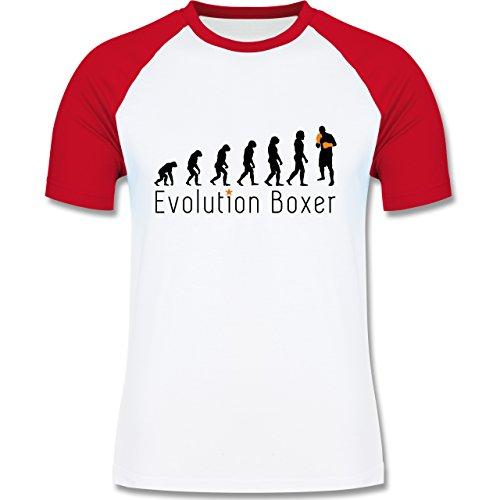 Evolution - Boxer Evolution - zweifarbiges Baseballshirt für Männer Weiß/Rot