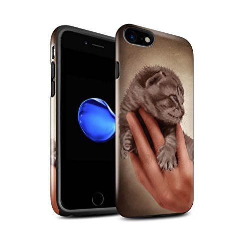 Officiel Elena Dudina Coque / Brillant Robuste Antichoc Etui pour Apple iPhone 8 / Endormi/Tigré Chat Design / Les Animaux Collection Minou/Voir
