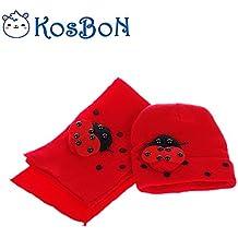 Kosbon Unisex Bebé Cute Mariquita Pattern Weave Knit Cap Scarf Set. (Rojo)