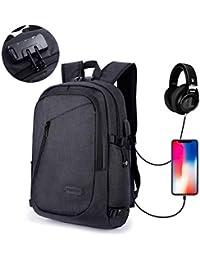 """Mochila Antirrobo para Ordenador o iPad hasta 15.6 pulgadas, con USB Puerto y Puerto de Auriculares, Impermeable, Ideal para Estudiantes/ Negocios/ Viajes, 28cm x 18cm x 50cm/ 19.7 x 11 x 7"""", Negro"""