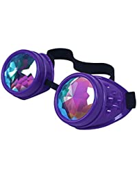 ASVP Shop® Kaleidoscope Rave Goggles - Rainbow Crystal Lenses Silver Steampunk Glasses Chrome Finish Gotchic Welder Cyber Style - Real Glass Lens