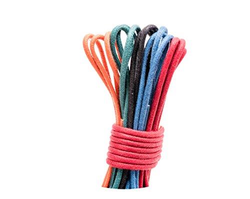 Loco!Laces- Gewachste, Bunte, farbige, runde Schnürsenkel für Business-Schuhe! 80cm Länge 5er Pack (Mix 1, Schwarz-Rot-Blau-Grün-Orange) -