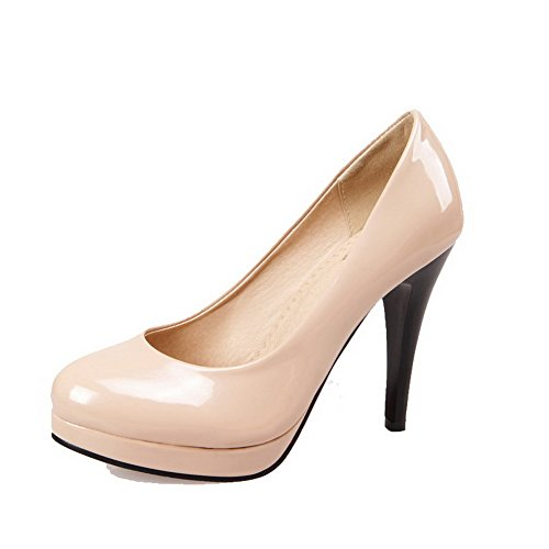 VogueZone009 Femme Verni Rond Stylet Couleur Unie Tire Chaussures Légeres Abricot