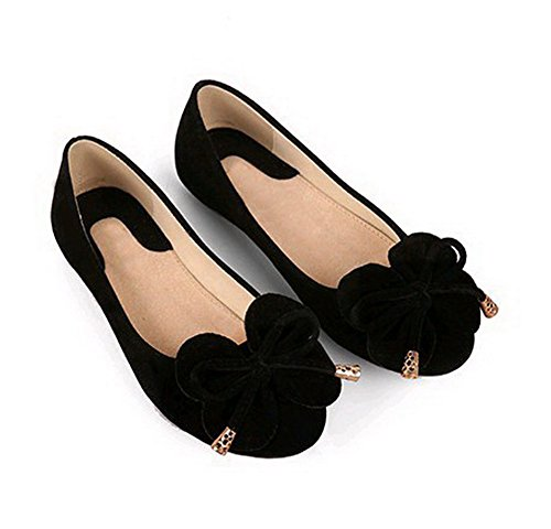 AalarDom Femme Tire Rond Non Talon Couleur Unie Dépolissement Chaussures à Plat Noir