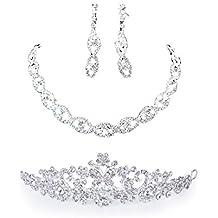 Gleader Orecchini collana diadema fascia artificiale monili set di matrimonio sposa fascia del fiore diadema corona velo