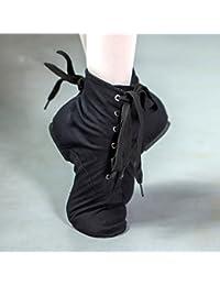 PENGFEI Zapatos De Baile Jazz Botas De Lona Fondo Suave Alta Ayuda Adulto De Las Mujeres Negro (Color : Negro,...