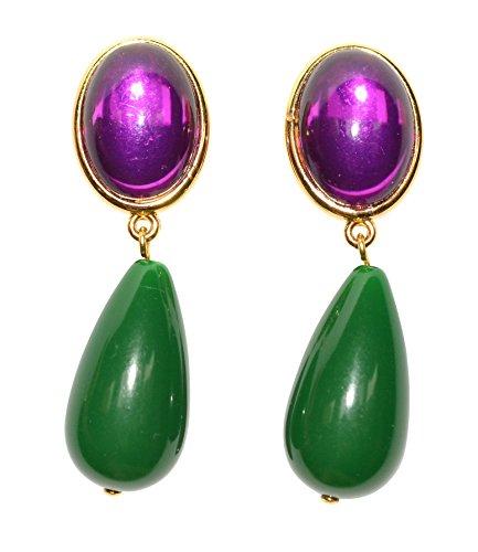 Leichte sehr große Ohr-Clips vergoldet Stein lila Anhänger dunkel-grün tropfen-förmig Designer JUSTWIN bunt knallig Hingucker Statement Glamour