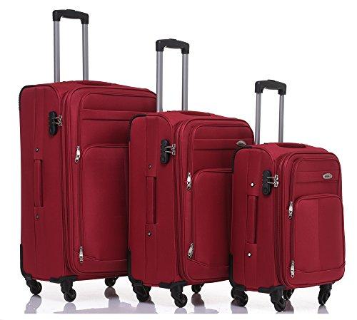 Kofferset Trolley Gepäckset Stoff Dehnungsfuge Koffer Reisekoffer (Weinrot)