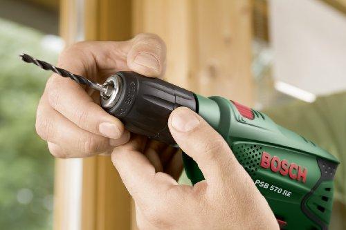 Bosch DIY Schlagbohrmaschine PSB 570 RE, 4 tlg. Universalbohrer-Set, Zusatzhandgriff, Tiefenanschlag, Koffer (570 W, max. Bohr-Ø: Beton 10 mm, Holz: 25 mm) - 4