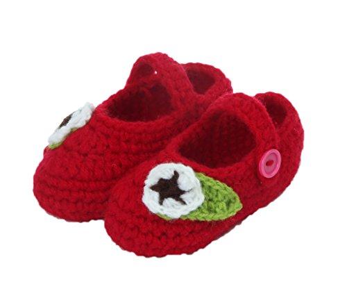 Smile YKK 1 Paar One Size 11cm Baby Unisex süße Strick Strickschuh klein Schuh ohne Deko Grün Blüte Rot