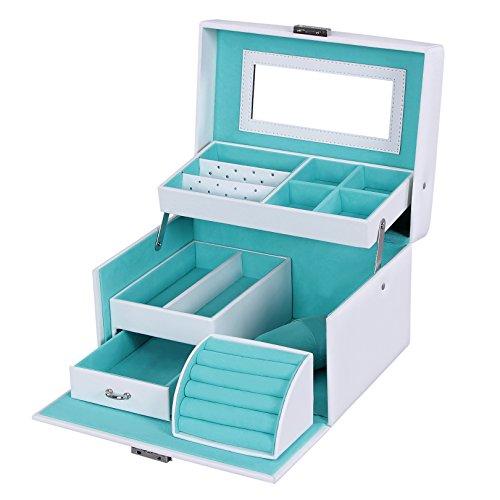 Songmics-Caja-joyero-Organizador-para-anillos-pulseras-reloj-PU-con-espejo-225-x-17-x-135-cm-Blanco-JBC114W