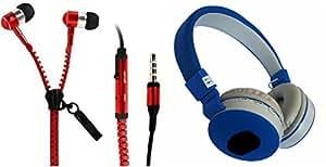MIRZA Zipper Earphones & Bluetooth Headphone for INFOCUS BINGO 21(Zipper Earphones||With MIC||Zipper Earphones & JBl 881C Bluetooth Headphones)