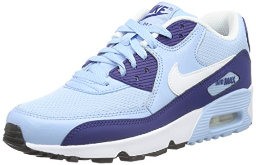 Nike Air Max 90 Mesh (Gs) Shoe, Sneakers Basses Mixte Enfant, Bleu (Phlox/White/Flash Coral), 42.5 EU