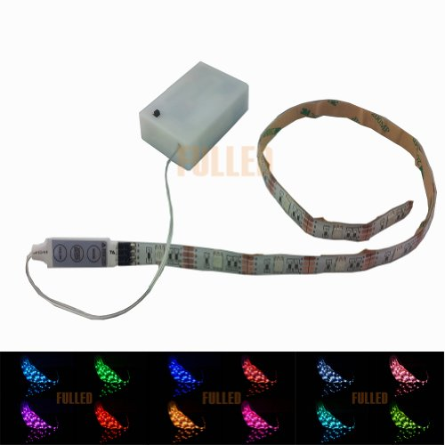 Suntec - Striscia LED RGB multicolore, 100 cm + batteria + mini controller