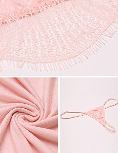 ADOME Damen Negligee Nachtwäsche Erotik Dessous Set V-Ausschnitt Spitze Unterwäsche Lingerie Rosa