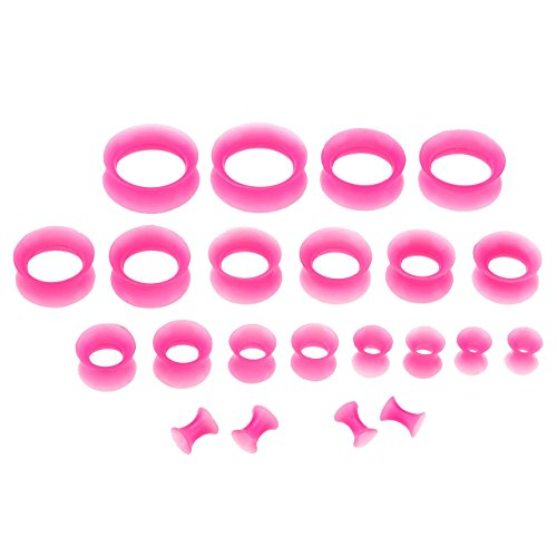 PiercingJ Silikon Tunnel Set 11 Paare 3-20mm Tunnel Double Flared Hohl Plug Ohrpiercing Klassisch Unisex Punk