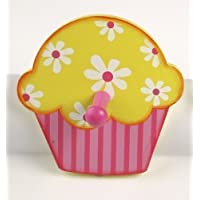 Tidlo Cupcake with Flowers Wooden Coat Peg/Hook