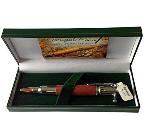 Kugelschreiber mit Bolt Action Design-Made in Irland mit Lila Herz Holz und mit Silber Teller und Chromrand ()