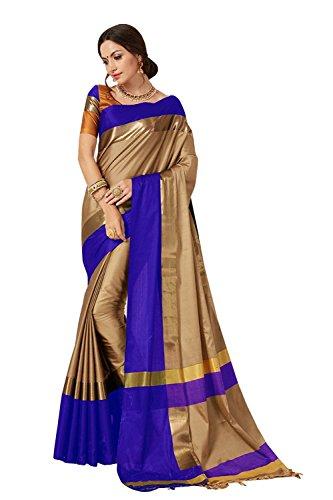 PerfectBlue Women's Cotton Silk Saree with Blouse Piece (I-00058_Blue_Free Size)