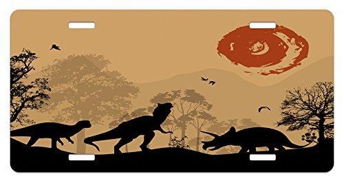 zaeshe3536658Dinosaurier Nummernschild, Silhouetten der Prähistorischen Tiere Wildnis Landschaft Abstrakt Sun, Aluminium Neuheit Teller, 15,2x 30,5cm.