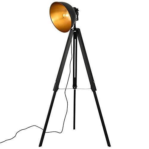 lux.pro] Lampe sur Pied Lampadaire Trépied avec Abat-Jour Design Industriel Métal Noir et Or 135 cm x 60 cm