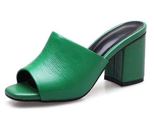 Frau Sommer Pantoffel Frauen mit dicken hochhackigen offenen Sandalen und Schuhen Pantoffel Green