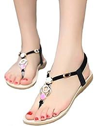 Sandalias Mujeres Moda Verano Plano Talla grande Bohemia Clip Toe Dulce Con cuentas Sandalias casuales Zapatos de playa Sandalias romanas Chanclas de damas LMMVP