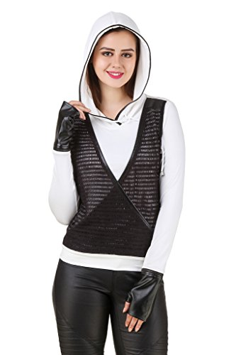 Texco White Hooded Sweatshirt With Detachable Gloves