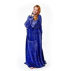 Idea Regalo - Snug Me Deluxe, coperta da divano con maniche e tasche extra sia davanti che per i piedi, 190 cm x 180 cm, Coperta plaid in pile coral 220 g/m² - blu scuro