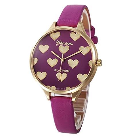 Montres femme pas cher amour Checkers décontractés PU cuir Analogique de luxe Montre à quartz (Rouge) (Rose vif)