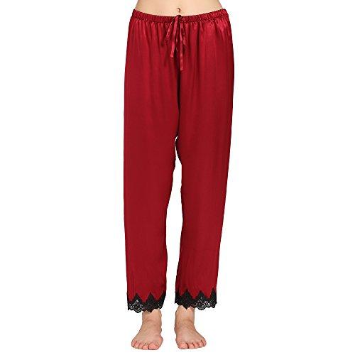 Lilysilk Pantalon Fluide en Soie 22 Momme Liseré Dentelle Bas de Pyjama Femme 100% Soie Rouge Vineux