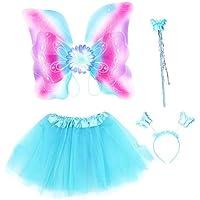 Amosfun Mädchen Fee Prinzessin Kostüm Set Tutu Rock Rabinbow Glitter Flügel Schmetterling Zauberstab Stirnband Kinder Leistung Kostüm