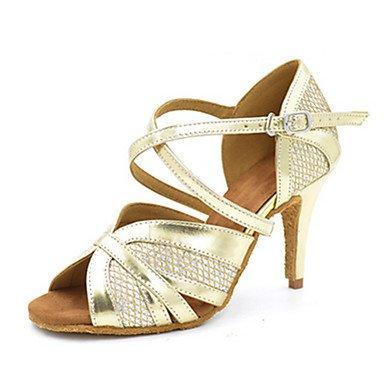 Scarpe da ballo-Personalizzabile-Da donna-Balli latino-americani Jazz Salsa Scarpe da swing-Tacco su misura-Finta pelle-Dorato Gold