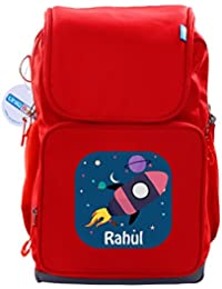 UniQBees Personalised School Bag With Name (Active Kids Medium School Backpack-Red-Rocket Galaxy)