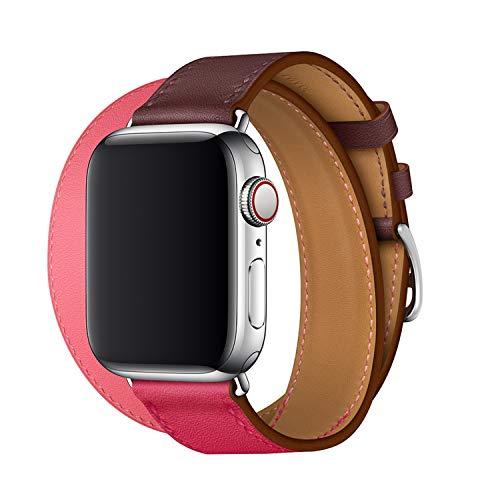 XCool für Apple Watch Armband 42mm 44mm, Leder Rosa Rot Double Tour Armbänder für iwatch Series 4 Series 3 Series 2 Series 1 Hermes -