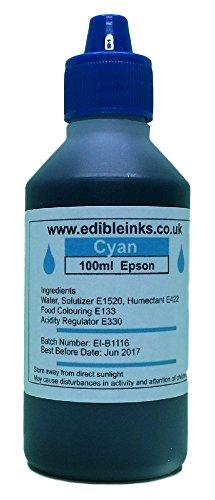 100 ml Cyan nur - essbarer Tinte für die nachfüllbaren Kartuschen oder CISS, für Epson Drucker (Und Tinte Papier Essbare)