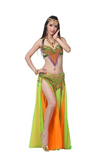 auchtanz gehobenen Belly Dance Set sexy BH und Hüfttuch und langen Rock Bauchtanz Kostüm Einheitsgröße(Apfelgrün+Orange) (Sexy Bauchtanz Kostüme)