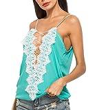 iYmitz Mode Damen Beiläufige Blumennaht Frauen V-Ausschnitt Basic Riemchen Solide Tank Tops Sweatshirt Bluse T-Shirt Blusen Top(Minzgrün,EU-44/CN-XL)
