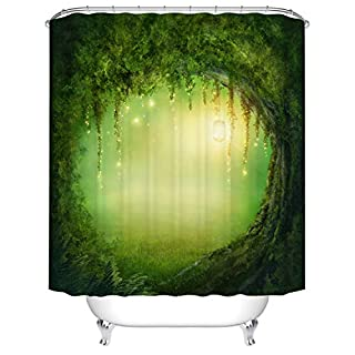 Qilerongrong Waterproof Polyester Fabric Bathroom Shower Curtain, Qile Mildew-Resistant Anti-Bacterial 3D Digital Printing Pattern Shower Curtains with 12 Ring Hooks, 180 x 180cm