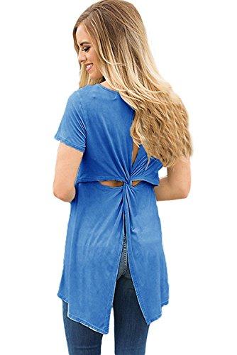 Lukis Damen Bluse Sommer Kreuz Elegant Oberteile Lange T-Shirt Blau
