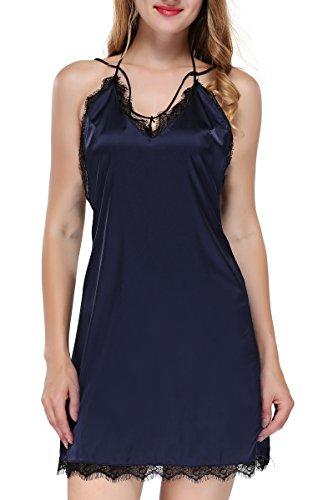 BMAKA Damen Satin Nachtwäsche Spitze Nachtkleid Negligee mit Gürtel und String (Medium, Blau)