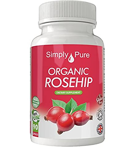 Organic Rosehip 90x Capsules, 100% Natural Soil Association Certified, High Strength 500mg, Anti-Inflammation, Gluten Free, Vegan, Exclusive to Amazon, Simply Pure, Moneyback Guarantee.